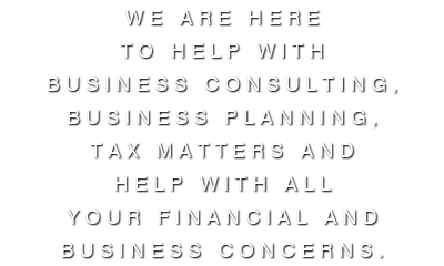 We are here to help with business consulting, business planning, tax matters and help with all your financial and business concerns.